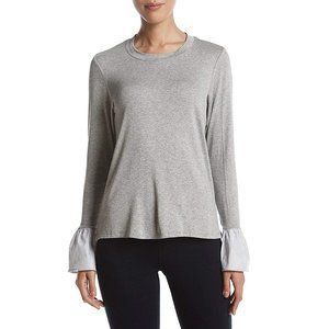Bobeau Soft Gray Tee with Striped Bell Sleeves